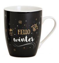 Tasse Weihnachten mit Schriftzug Hello Winter schwarz, weiß, gold, 300 ml Fassungsvermögen