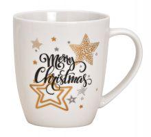 Becher Weihnachten mit Schriftzug Merry Christmas Hintergrund weiß, restliche Farben gold und schwarz, 300 ml Fassungsvermögen