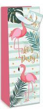 Geschenktasche Flasche Motiv Flamingo , 360*125*90 mm