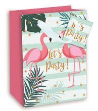 Geschenktasche Groß mit Flamingo Motiv, 26,3*32,3*13,6 cm