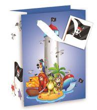 Geschenktasche Groß mit Piraten Motiv, 26,3*32,3*13,6 cm