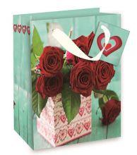 Geschenktasche Klein mit Motiv Tulpenkorb, 17,7*22,7*9,8 cm