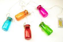 LED Lichterkette 5 Gläser mit Korkdeckel, Gesamtlänge 1,1 Meter