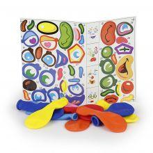 Luftballons mit Sticker 10 Stück bunt sortiert