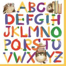 Serviette mit farbenfrohen Alphabet Motiv 20 Stück 33*33 cm
