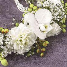 Serviette mit Blumenbouquet in weiß und grün, 20 Stück, 33*33 cm