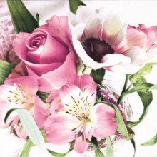 Serviette mit Blumengesteck Motiv 20 Stück 33*33 cm