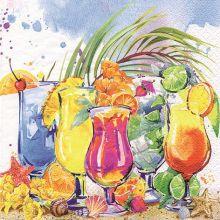 Serviette mit Cocktails Motiv 20 Stück 33*33 cm