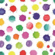 Serviette mit Farbklecksen in verschiedenen Farben und Größen weißer Hintergrund 20 Stück, 33*33 cm