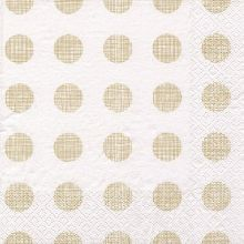 Serviette Punkte gold mit weißem Hintergrund 20 Stück, 33*33 cm
