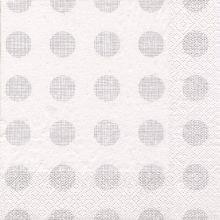 Serviette Punkte silber mit weißem Hintergrund 20 Stück, 33*33 cm