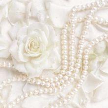 Serviette mit Rosen und Perlen in weiß, 20 Stück, 33*33 cm