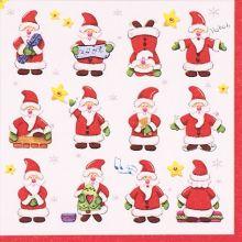 Serviette Weihnachten mit 12 kleinen Comic Weihnachtsmännern 20 Stück, 33*33 cm