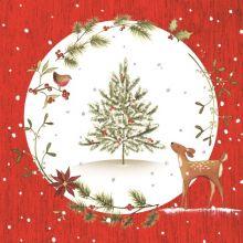 Serviette Weihnachten Fuchs in Winterlandschaft, 20 Stück, 33*33cm