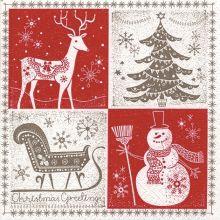 Serviette Weihnachten Weihnachtswünsche, verschiedene Weihnachtssymbole 20 Stück, 33*33cm
