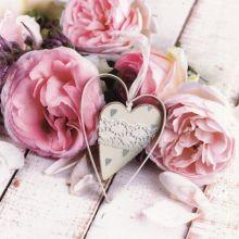 Serviette Blumenbouquet mit Herz, 20 Stück, 33*33 cm