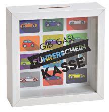 """Sparadose mit der Aufschrift """"Gib Gas! Führerscheinkasse"""", weißer Holzrahmen mit Glasfront, 15*15*5 cm"""