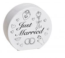 Spardose halbrund mit der Aufschrift Just Married, 14x13x5 cm