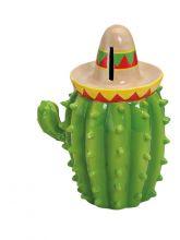 Spardose Kaktus mit Sombrero, 13x10x18 cm