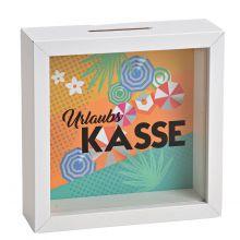 Spardose Happy Birthday, weißer Holzrahmen und Glasfront, 15*15*5 cm