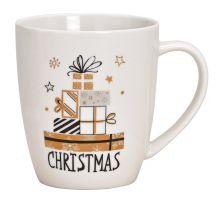 Tasse Weihnachten mit Schriftzug Christmas Hintergrund weiß, restliche Farben gold und schwarz, 300 ml Fassungsvermögen