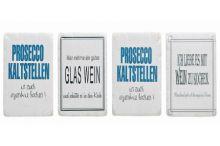 Untersetzer aus Stein mit Sprüchen zu  Thema Wein und Prosecco, 10*10 cm 4er Set