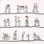 Serviette mit Strichmännchen und Herzen Motiv 20 Stück, 33*33 cm